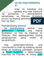 Pamamahala Ng Mga Espanyol Sa Pilipinas