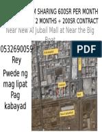 Kabayan Room Sharing 600sr Per Month