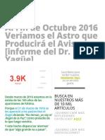 Al Fin de Octubre 2016 Veríamos El Astro Que Producirá El Aviso [Informe Del Dr