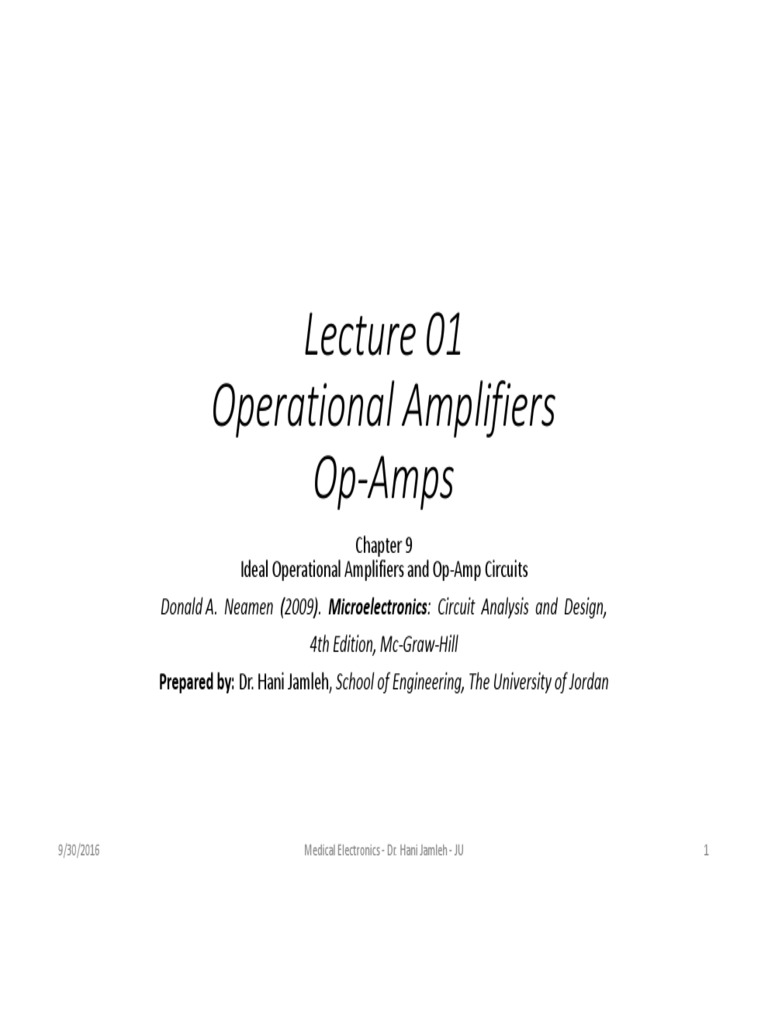 Hjhjm Introduction1 Operational Amplifier Op Amp Circuits Analysis