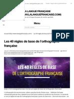 Les 40 Règles de Base de l'Orthographe Française _ La Langue Française