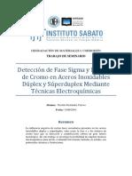 Detección de Fase Sigma y Nitruros de Cromo en Aceros Inoxidables Dúplex y Súperduplex por Técnicas Electroquímicas