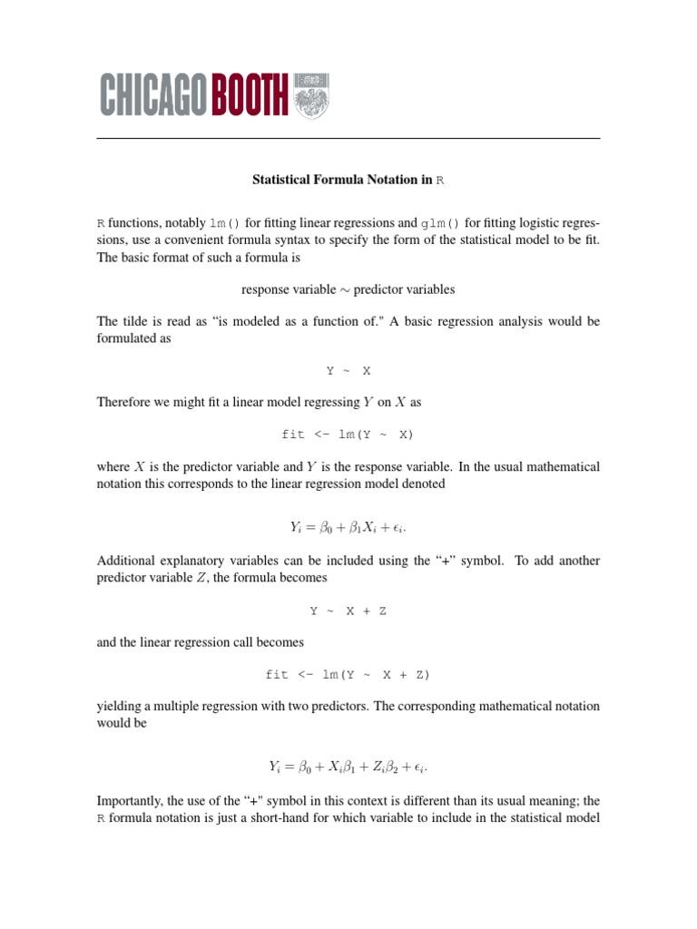Formula Notation Regression Analysis Linear Regression