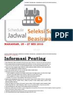Jadwal Seleksi Substansi Beasiswa LPDP - Makassar 25 - 27 Mei 2016