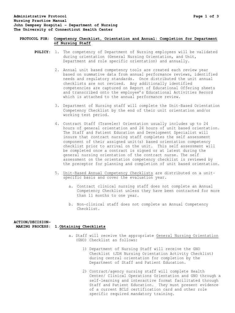 Competency Checklist Orientation And Annualpdf Nursing