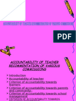 Accountiblity of the Teacher Recommindation on Various Comission