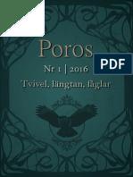 Poros. Tvivel, Längtan, Fåglar (Nr 1, 2016.)