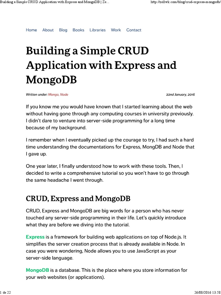 MongoDB - Building a Simple CRUD Application With Express