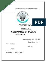Acceptance of Public Deposits