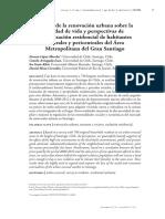 Efectos de La Renovación Urbana Sobre La Calidad de Vida y Perspectivas de Relocalización Residencial de Habitantes Centrales y Pericentrales Del Área Metropolitana Del Gran Santiago