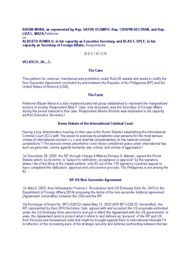 Bayan Muna V Romulo International Criminal Court Treaty