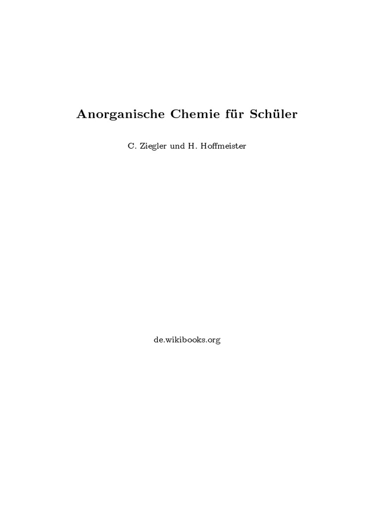 Anorganische Chemie Fuer Schueler