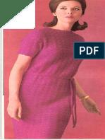 Crochet Short Sleeve Dress - Pink