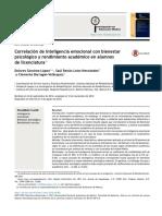 2015 Correlación de Inteligencia Emocional Con Bienestar Psicológico y Rendimiento Académico en Alumnos de Licenciatura