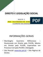 Direito e Legislação Social - AULA 1