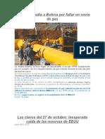 Multa de Gas de Argentina a Bolivia