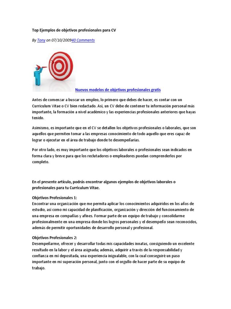 Lujo Ejemplos Objetivos De Currículum De Desarrollo Empresarial ...