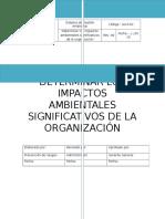 DETERMINAR LOS IMPACTOS AMBIENTALES SIGNIFICATIVOS DE LA ORGANIZACIÓN