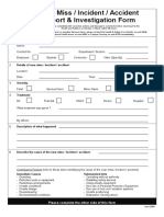 Near Miss Incident Accident Report and Investigation Form