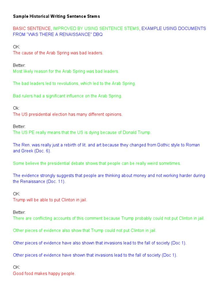 samplehistoricalwritingsentencestems 2