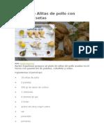 Receta de Alitas de Pollo Con Patatas y Setas