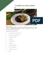 Receta de Costilla en Salsa Verde Con Frijoles