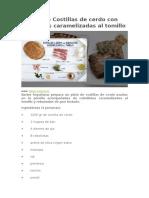 Receta de Costillas de Cerdo Con Cebolletas Caramelizadas Al Tomillo