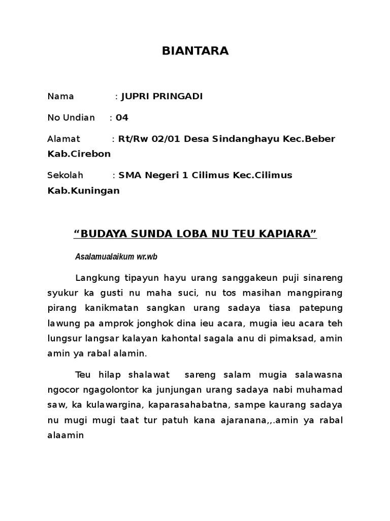 Contoh Pidato Bahasa Sunda Biantara