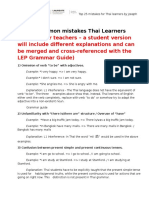 Common Mistakes Thai Learners