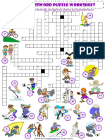 Sports Vocabulary Criss Cross Crossword Puzzle Worksheet