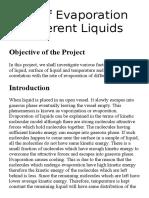 Rate of Evaporation of Different Liquids