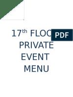 NEW 17th FLOOR Private Event Menu