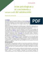 Consecuencias Psicologicas y Sociales Del Crecimiento y Desarrollo Del Adolescente