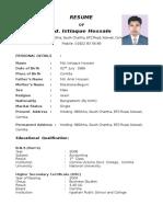 RESUME of Md. Istiaque Hossain