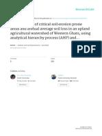 Identification of Critical Soil Erosion Prone Areas and Annua
