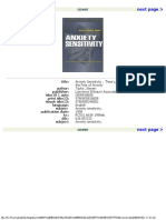 Steven Taylor Anxiety Sensitivity Theory, Research, And Treatment of the Fear of Anxiety Personality and Clinical Psychology Series 1999