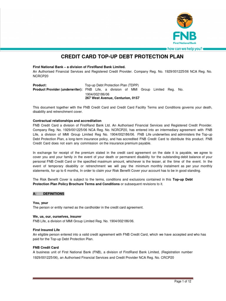 20130808 FNB TDPP Policy Brochure Terms and Conditions | Insurance | Credit Card