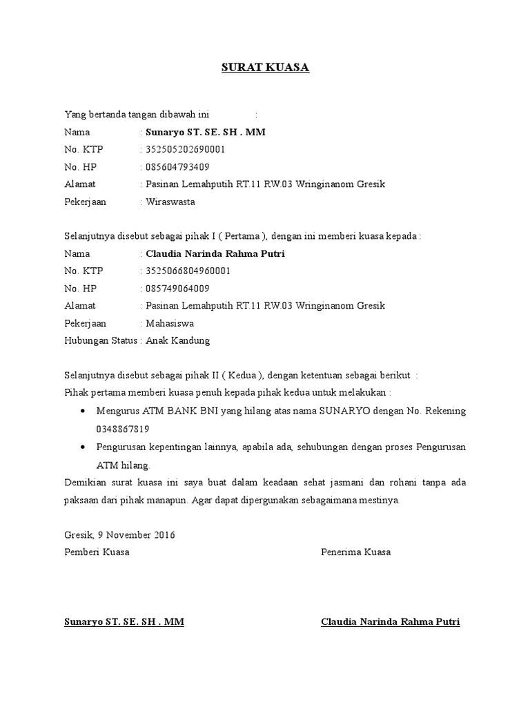 Dokumen Tips Contoh Surat Kuasa Atm Terblokir