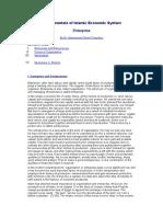 Fundamentals of Islamic Economic System Enterprise