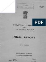RK Hazari Committee's Final Report on Industrial Planning and Licensing Policy, 1966