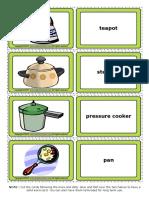 Kitchen Utensils Esl Vocabulary Game Cards for Kids