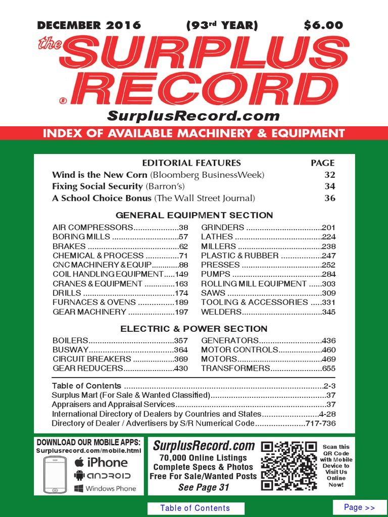 DECEMBER 2016 Surplus Record Machinery & Equipment Directory | Engines |  Mechanical Engineering