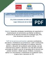 INVITACIÓN TALLER CON ONG'S 21 y 22 nov