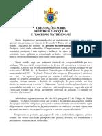 Orientações Sobre o Registro e Processo Matrimonial Na Paróquia