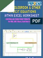 Solve Implicit Equations (Colebrook White) -1