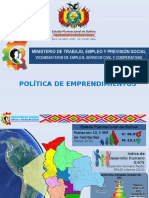 BOLIVIA - Política de Emprendimientos (Blanco Cazas, Junio 2013)