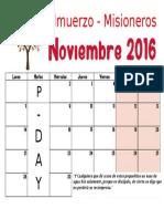 Calendario de Almuerzos Misioneros Noviembre