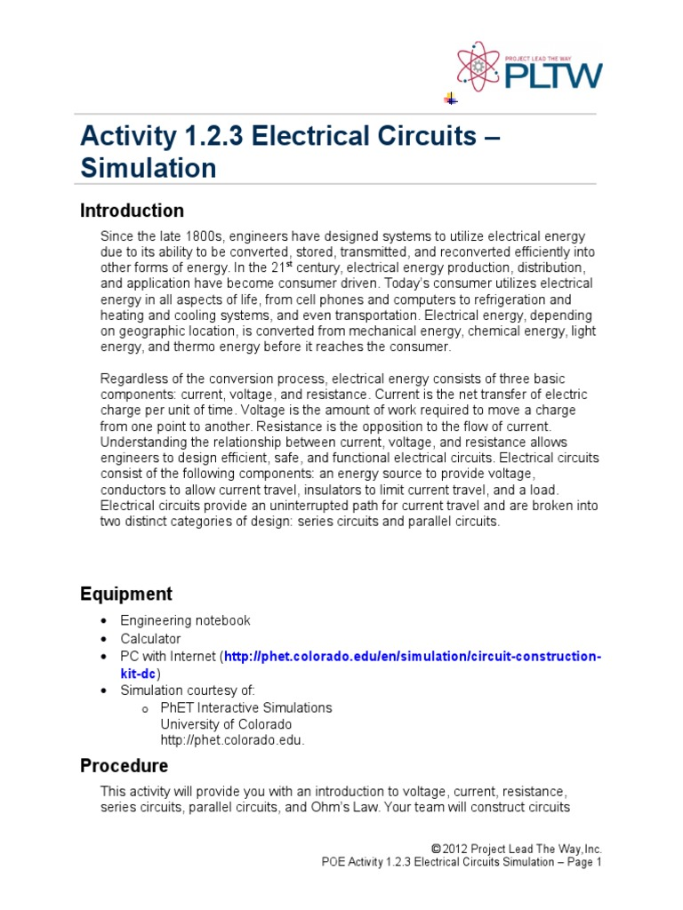 123 Simulation Nick Bartling Series And Parallel Circuits Together With Circuit Formula On Electric Current