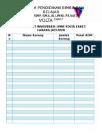 Daftar List Inventaris Lpbb Volta Exact Cabang Jati Asih