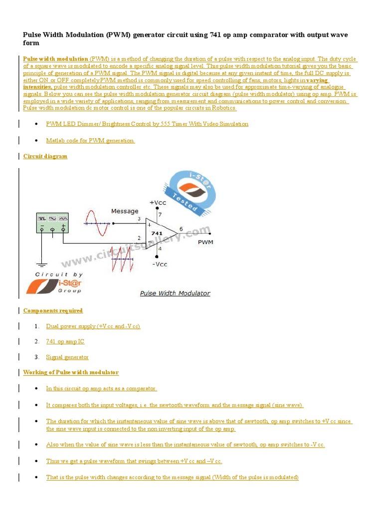 Pulse Width Modulation Ic 741docx Opamp 741 Pin Diagram